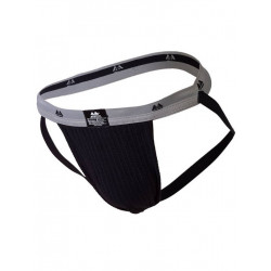 MM The Original Swimmer/Jogger Jockstrap Underwear Black/Grey 1 inch