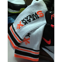 Sneak Freaxx Neon Orange Socks White One Size (T6413)