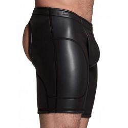 665 Leather Neoprene Open Ass Long Shorts Black