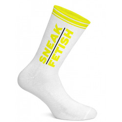 Sneak Freaxx Sneak Fetish Socks White Neon Yellow One Size (T7192)