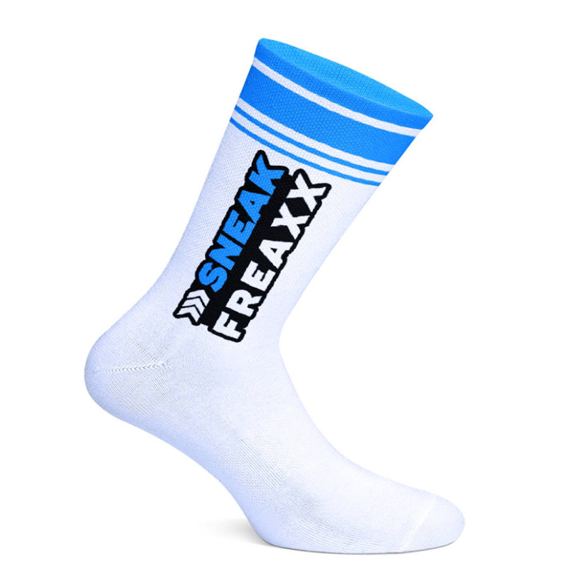 Sneak Freaxx Big Stripe Blue Socks White One Size (T7646)