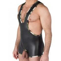 665 Leather Neoprene Open Crotch Wrestling Singlet Black/Camo (T4481)