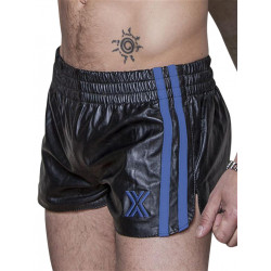 BoXer Leather Sports Shorts Black/Blue Stripes