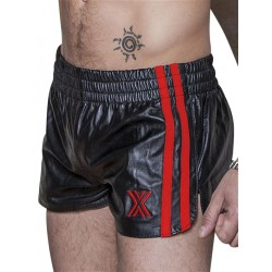 BoXer Leather Sports Shorts Black/Red Stripes (T5390)